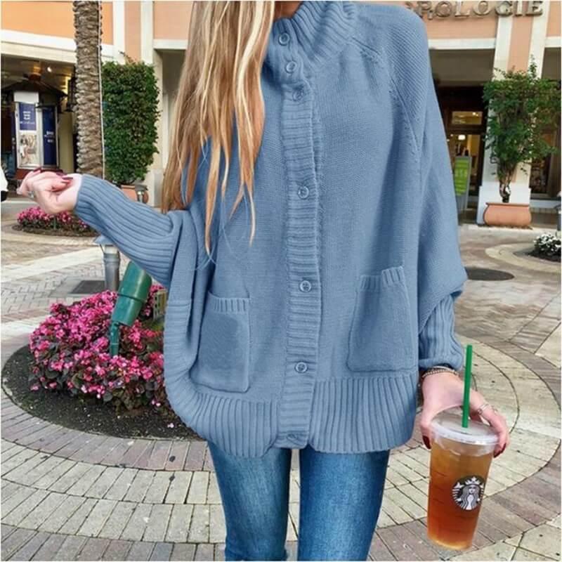 Plus Size Fleece Coat - sky blue  color