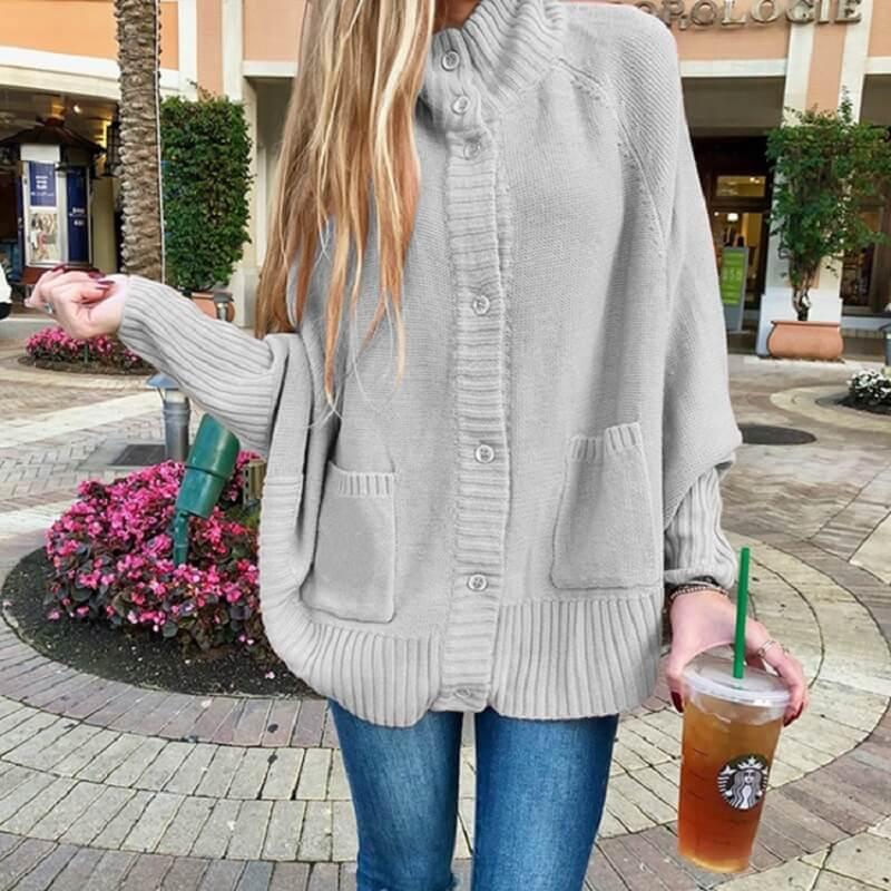 Plus Size Fleece Coat - gray color