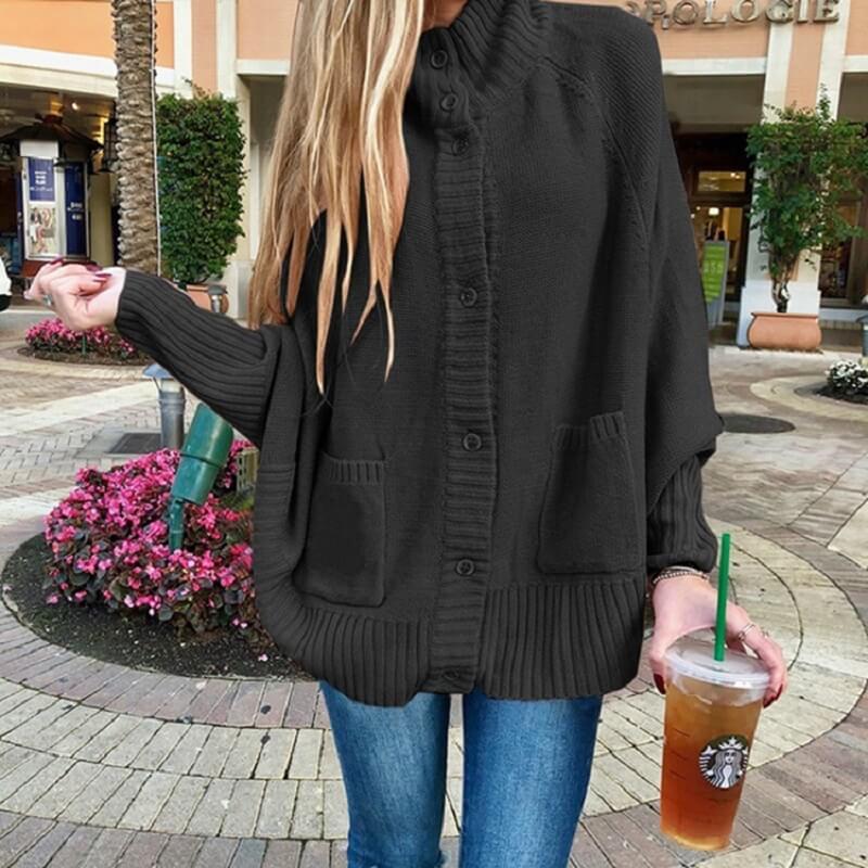 Plus Size Fleece Coat - black  color