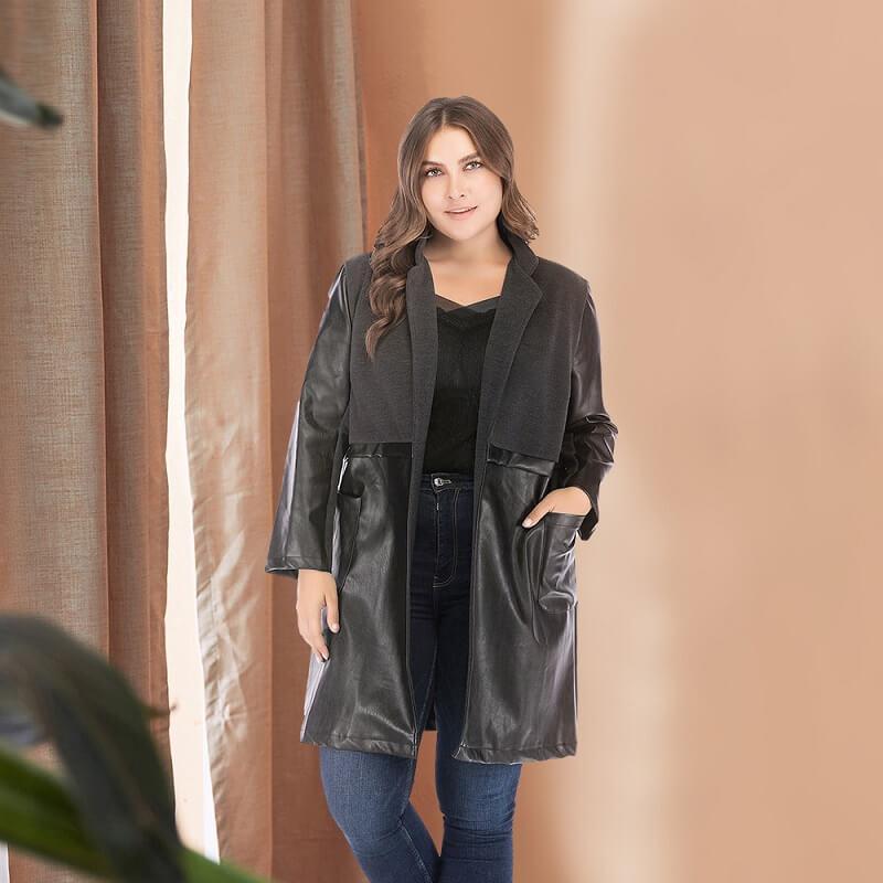 Plus Size Fur Coat - black whole body
