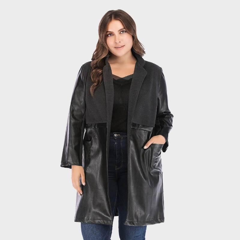 Plus Size Fur Coat - black color