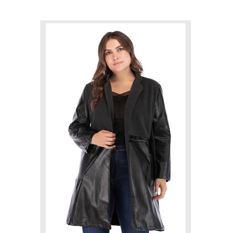 Plus Size Fur Coat - black front