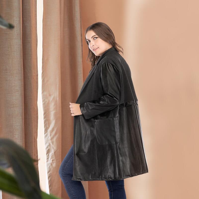 Plus Size Fur Coat - black left