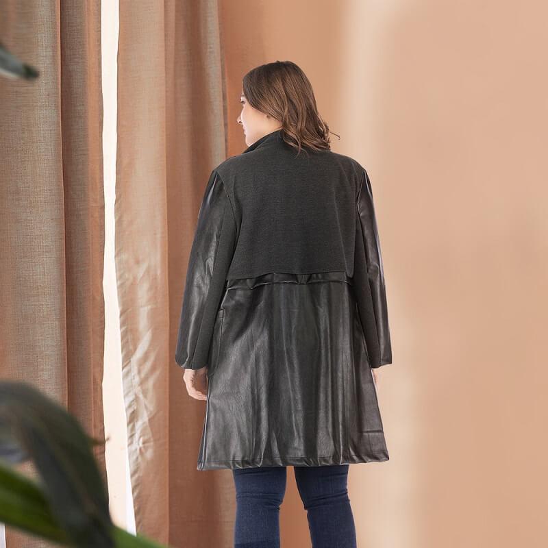 Plus Size Fur Coat - black back