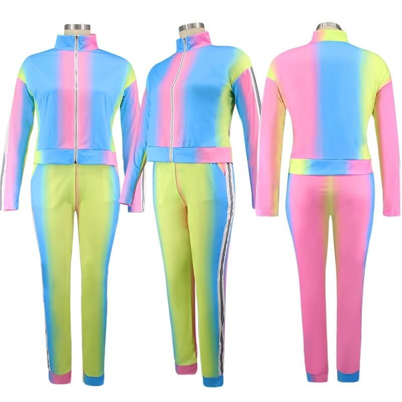 Plus Size Gradient Sports Suit - yellow model picture