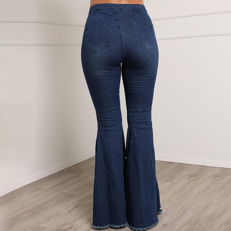 Grey Plus Size Jeans - dark blue back