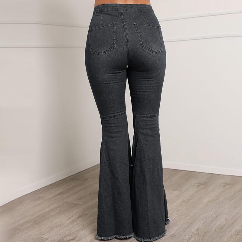 Grey Plus Size Jeans - gray back