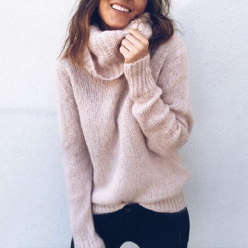 Plus Size Gray Sweater - pink positive
