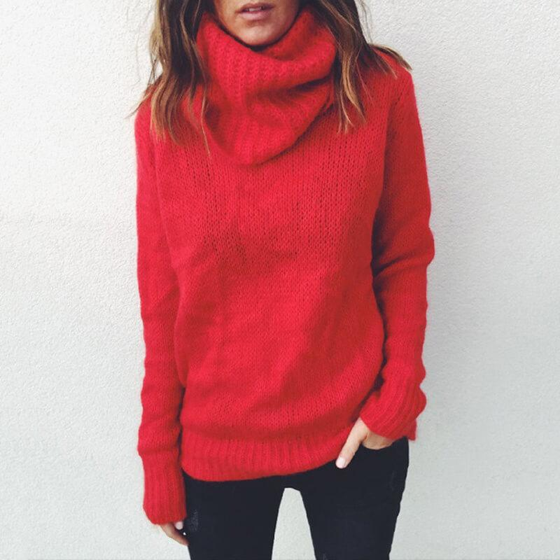 Plus Size Gray Sweater - red color
