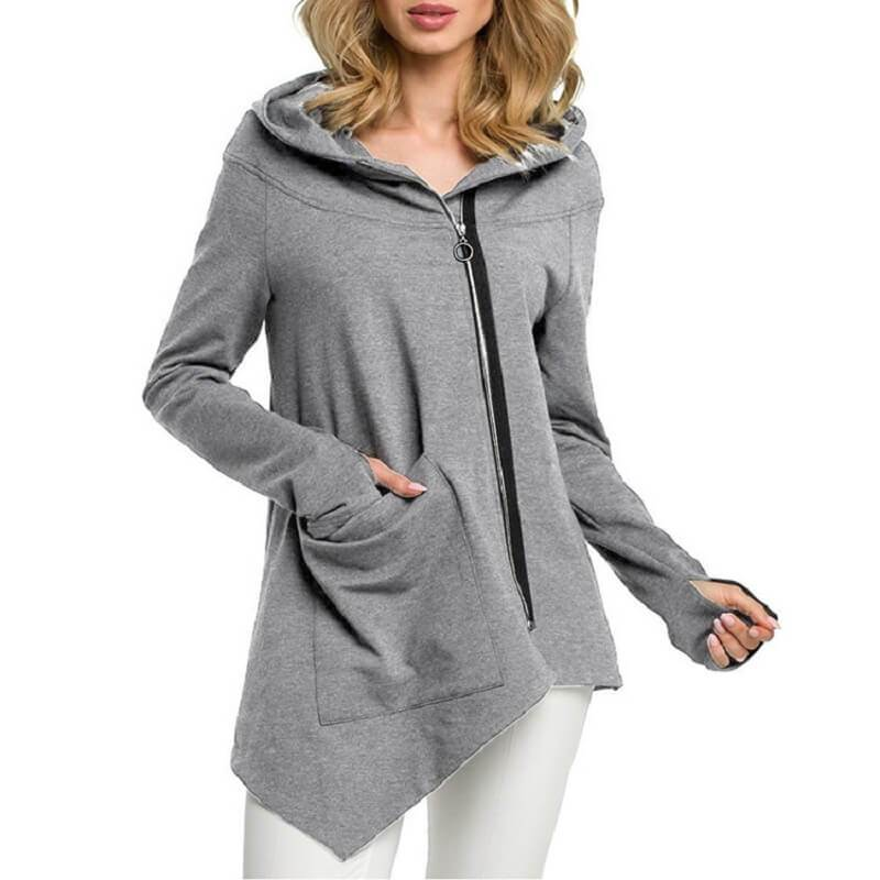 Plus Size Hooded Coat - gray color