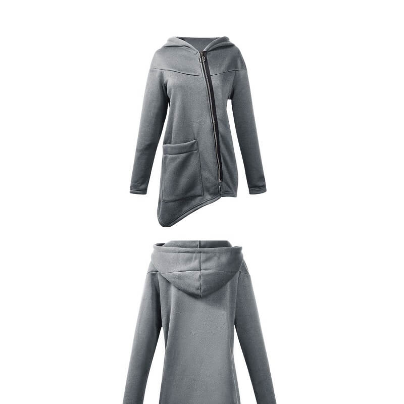 Plus Size Hooded Coat - gray two colors