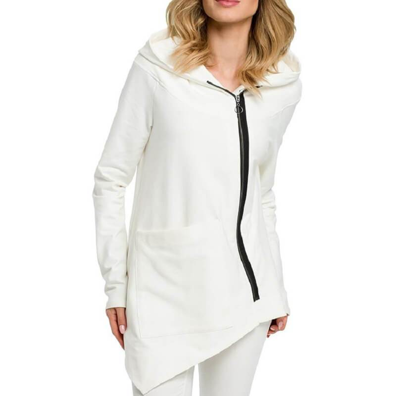 Plus Size Hooded Coat - white color