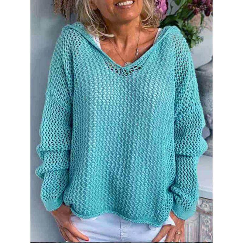 Plus Size Hooded Sweater - light blue positive