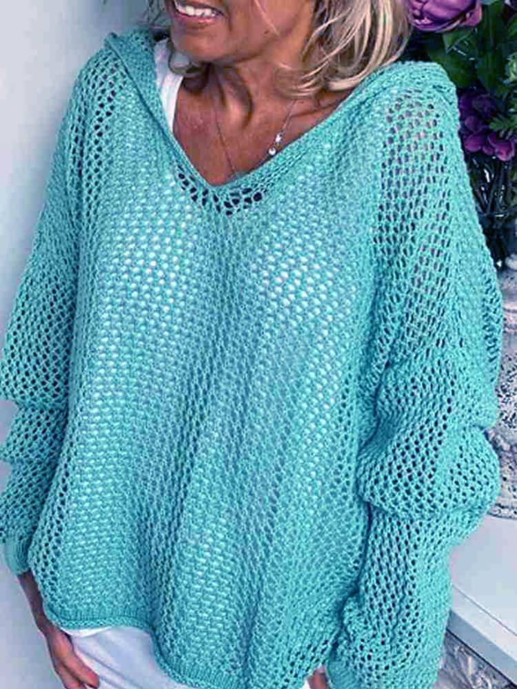 Plus Size Hooded Sweater - light blue color