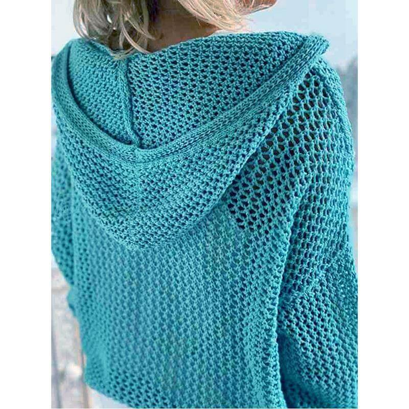 Plus Size Hooded Sweater - light blue back