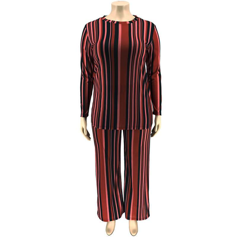 Plus Size Knitted Leisure Suit - red positive
