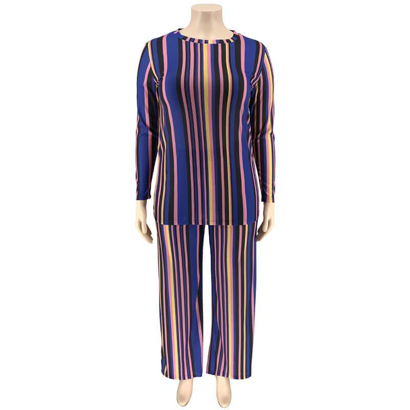 Plus Size Knitted Leisure Suit - blue positive