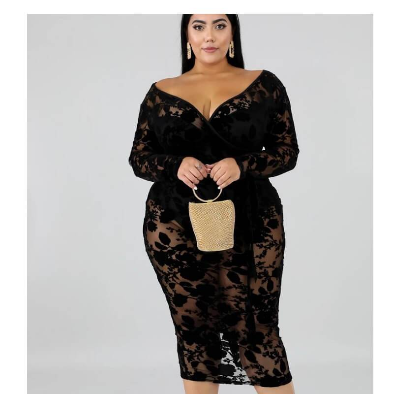 Black Plus Maxi Dress - black whole body