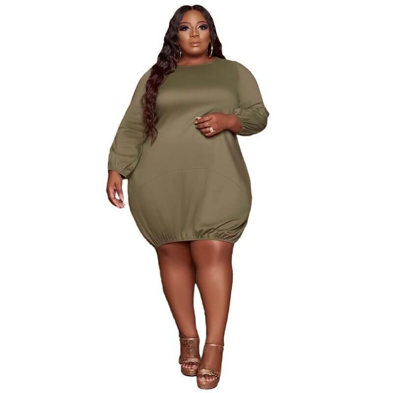 Plus Size Wrap Dress - military green color