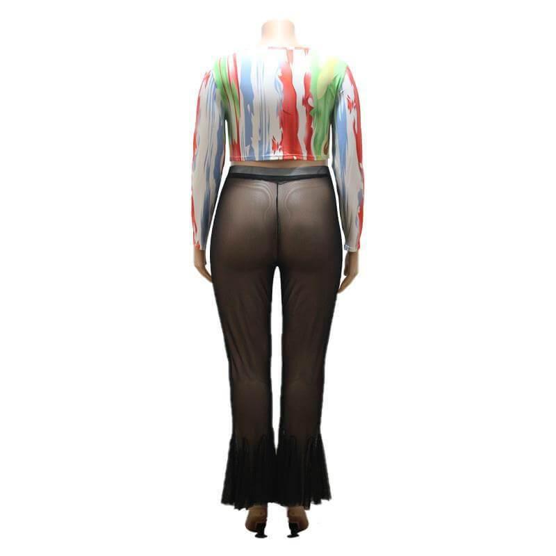 Plus Size Bell Bottom Jeans - black back