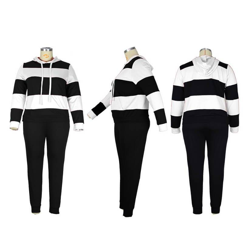 Plus Size Solid Color Two-piece Set - black and white detail image