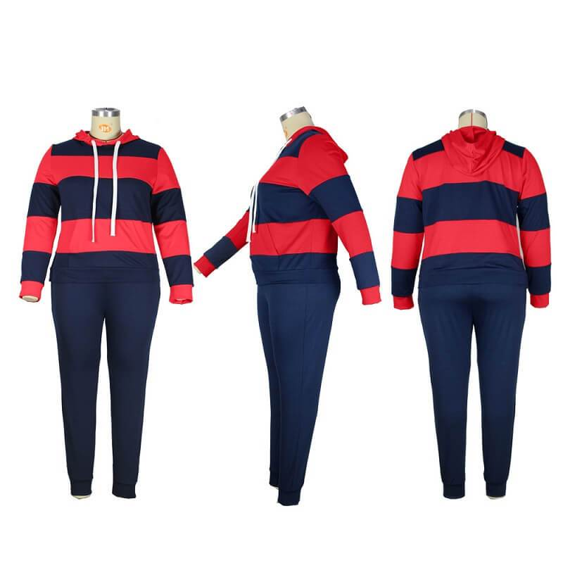 Plus Size Solid Color Two-piece Set - red and blue detail image