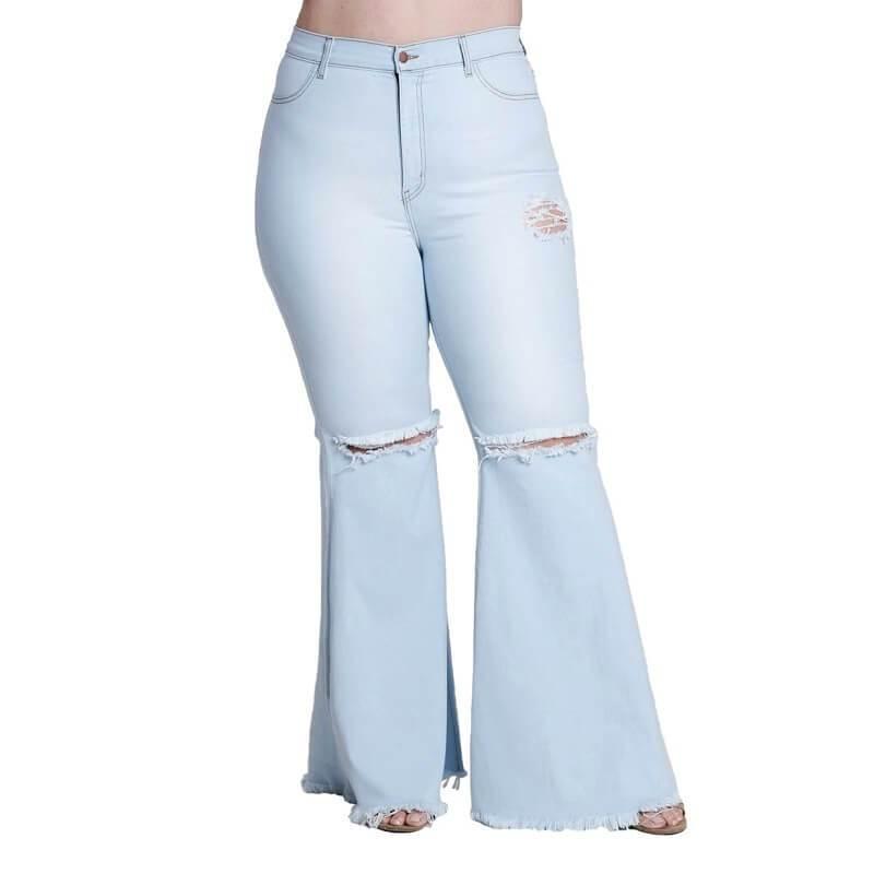 Frayed Hem Jeans Plus Size - light blue positive