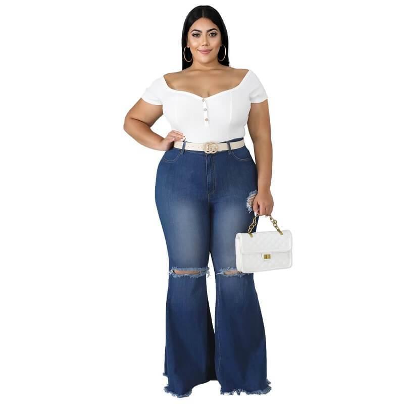 Frayed Hem Jeans Plus Size - dark blue positive