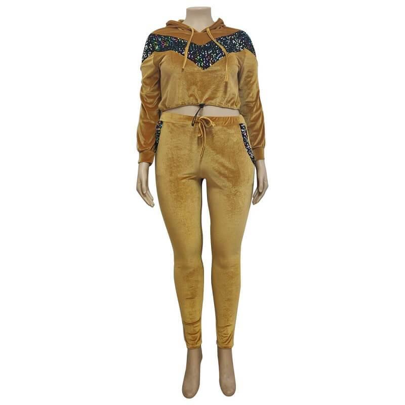 Plus Size Large Size Sports Suit - yellow positive