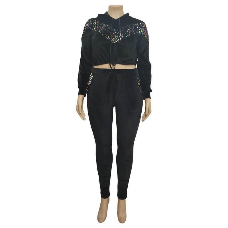 Plus Size Large Size Sports Suit - black positive