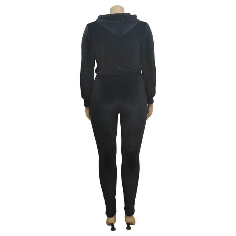 Plus Size Large Size Sports Suit - black back
