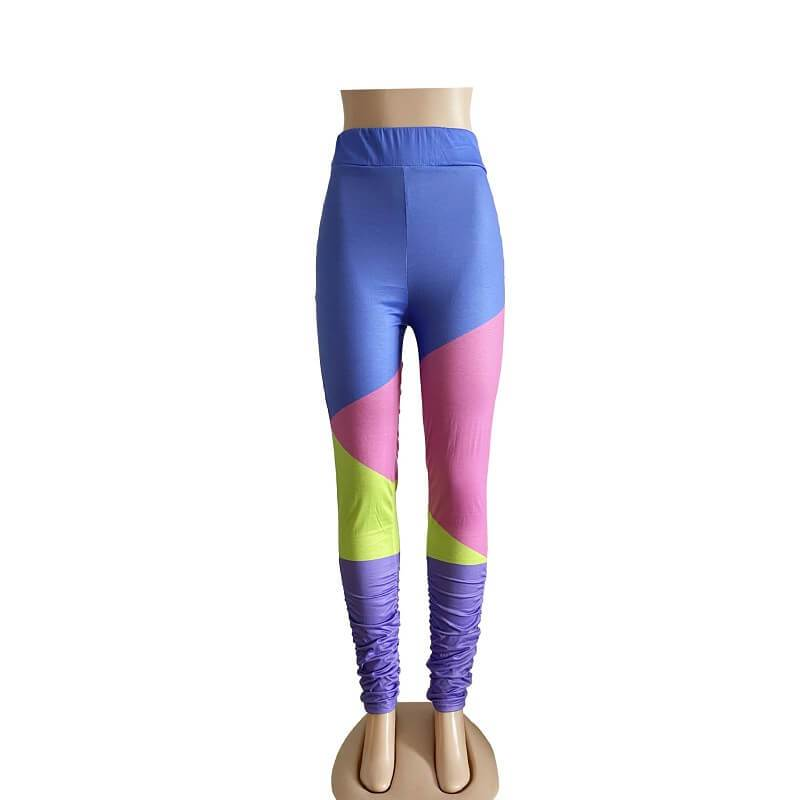 Oversize Stitching Leggings - blue positive