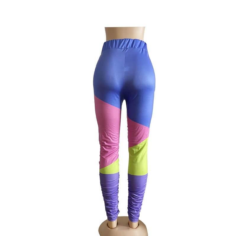 Oversize Stitching Leggings - blue back