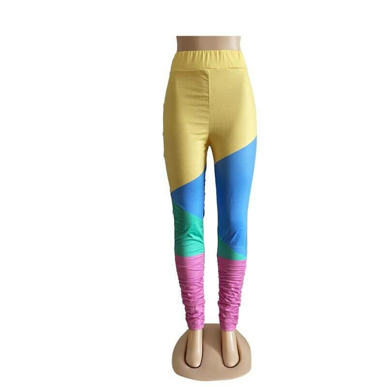 Oversize Stitching Leggings - yellow picture