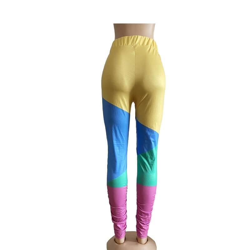Oversize Stitching Leggings - yellow back