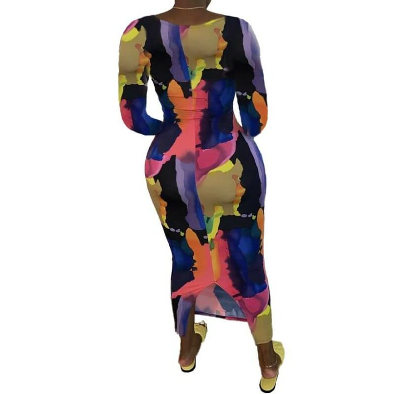 Plus Size Going Out Dresses - multi-colored back