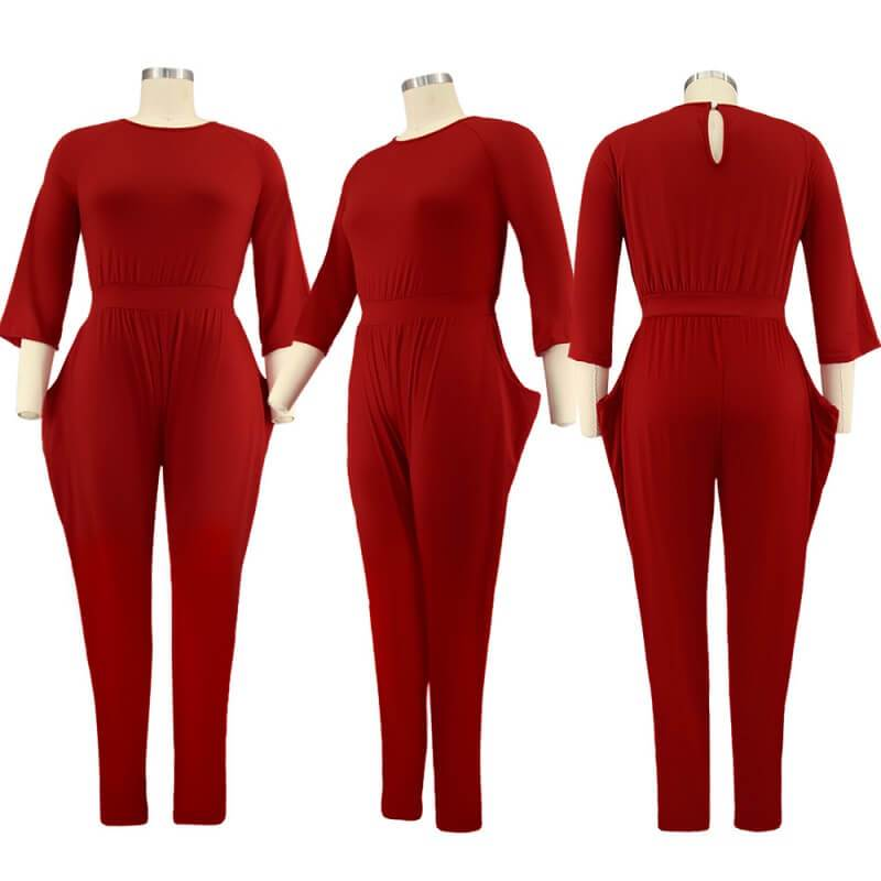 plus size red jumpsuit - red model picture