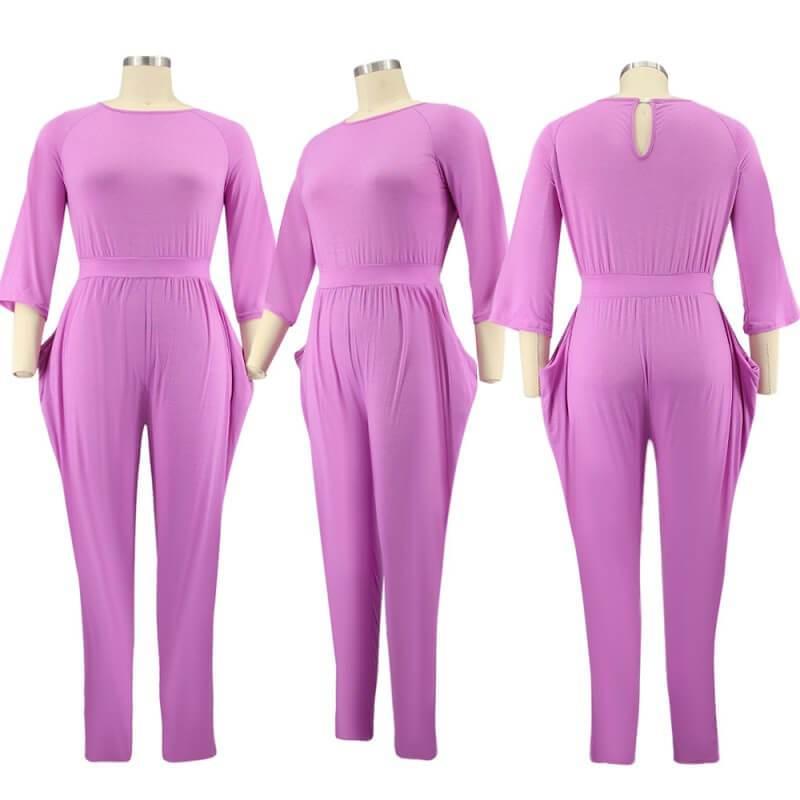 plus size red jumpsuit  - purple model picture