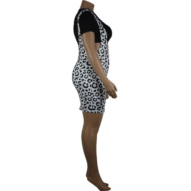 Leopard Print Curve Dresses - leopard print right