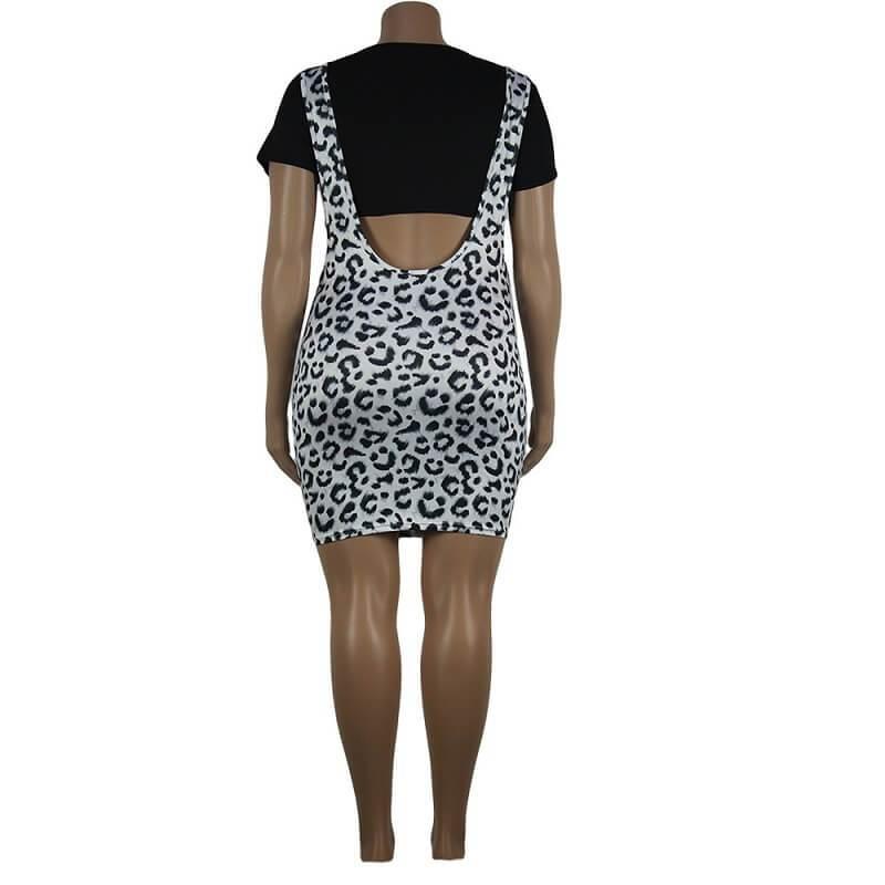 Leopard Print Curve Dresses - leopard print back