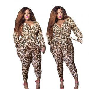 Plus Size Leopard Romper  - leopard main picture