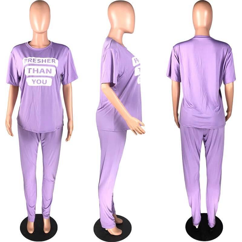 Plus Size Letter Suit - purple model picture