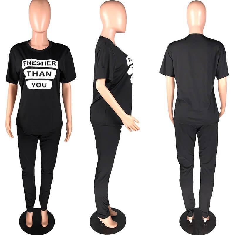 Plus Size Letter Suit - black model picture
