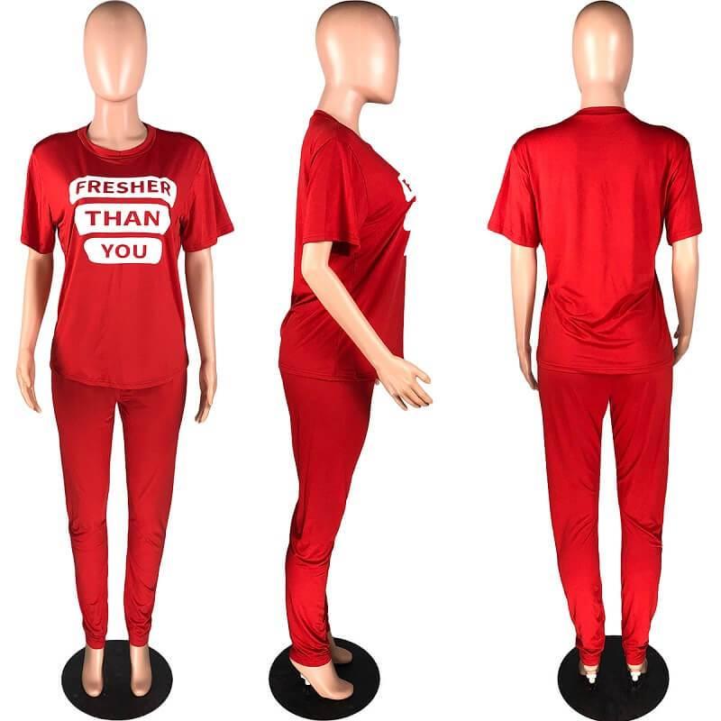 Plus Size Letter Suit - red model picture