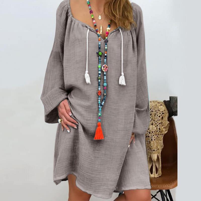 Plus Size Linen Dress - gray color