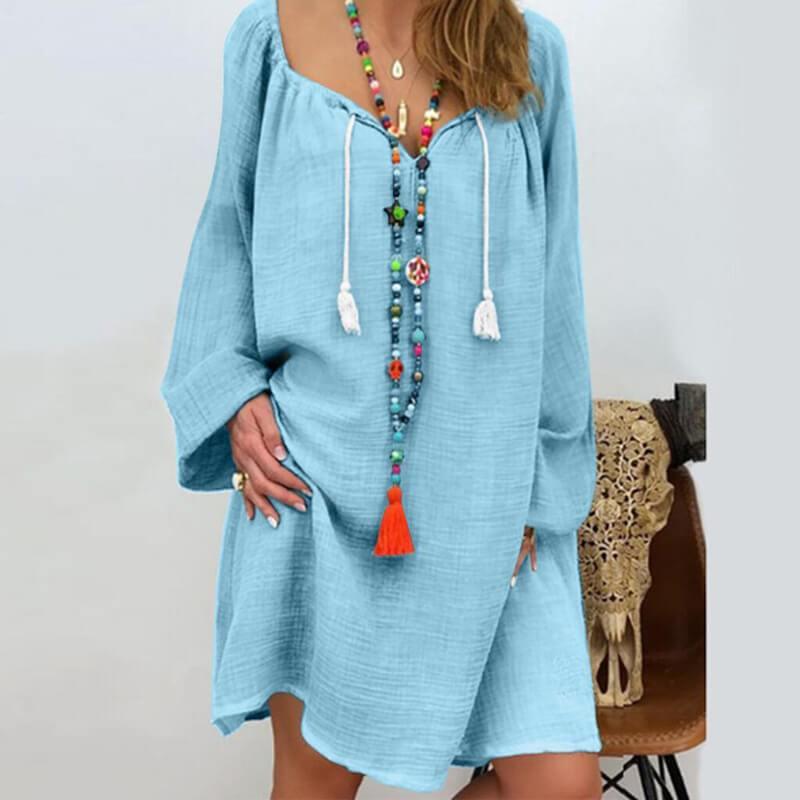Plus Size Linen Dress - blue color