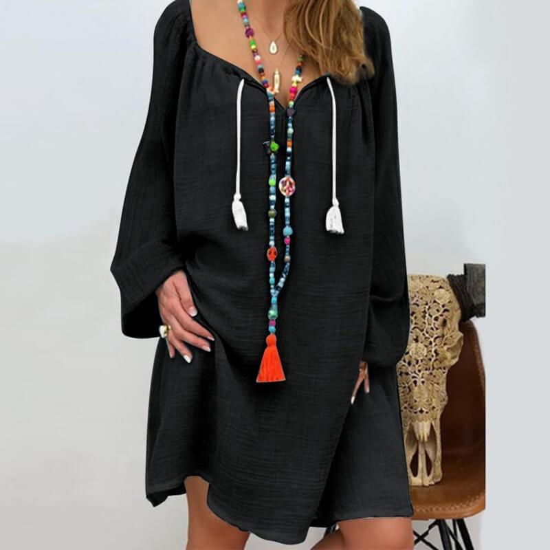 Plus Size Linen Dress - black color
