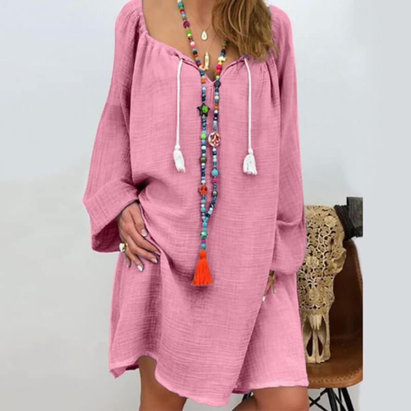 Plus Size Linen Dress - pink color