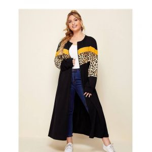 Plus Size Long Coat - black front