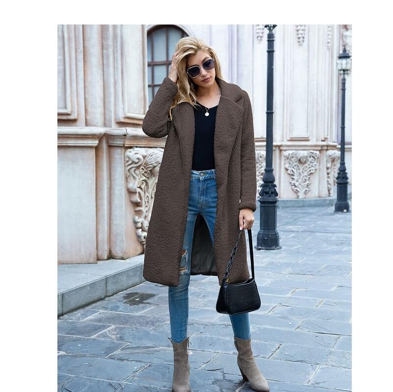 Plus Size Long Wool Coat - coffee color